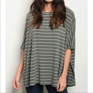 NEW! STRIPED OLIVE COLORED TOP IN SIZE SMALL